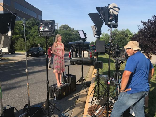 Catie Beck reporting on the Capital Gazette Shooting