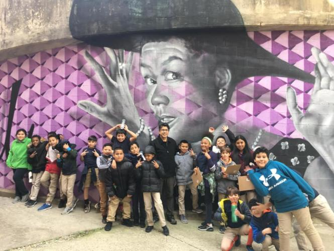 Pearl Bailey Mural with students from the Kids making History Mural project