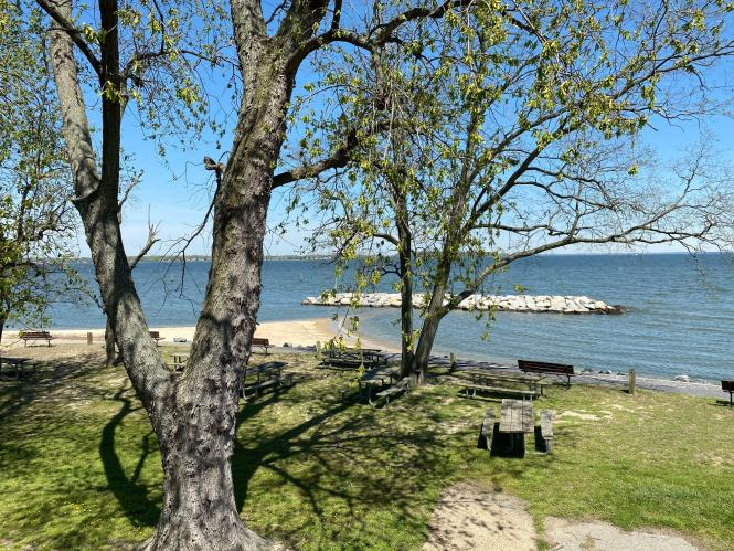 May Beach Park view of picnic area and beach