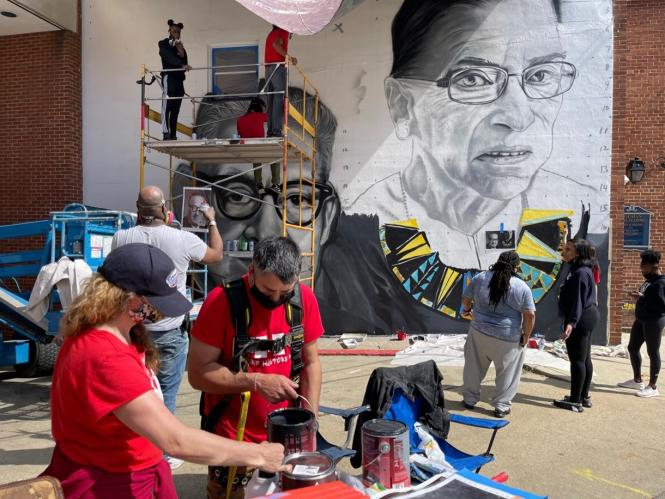 Mural in progress of Supreme Court Justic Marshall and Ginsburg