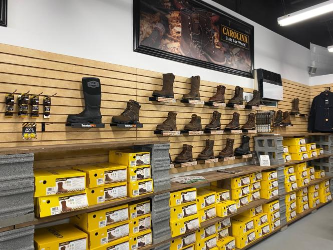 A display wall full of boots at Overlook.