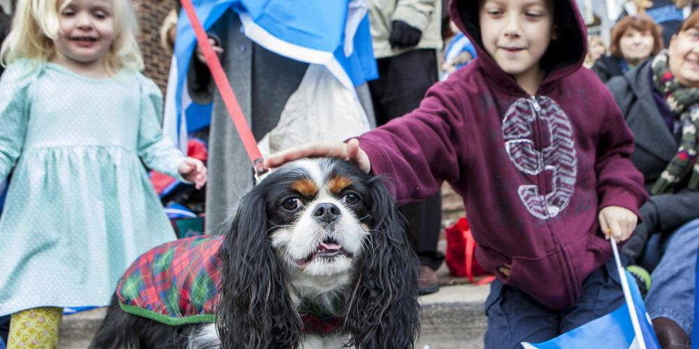 Christmas Parade kids with dog