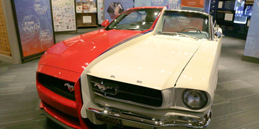 Split Red & White Mustang At The National Inventors Hall of Fame