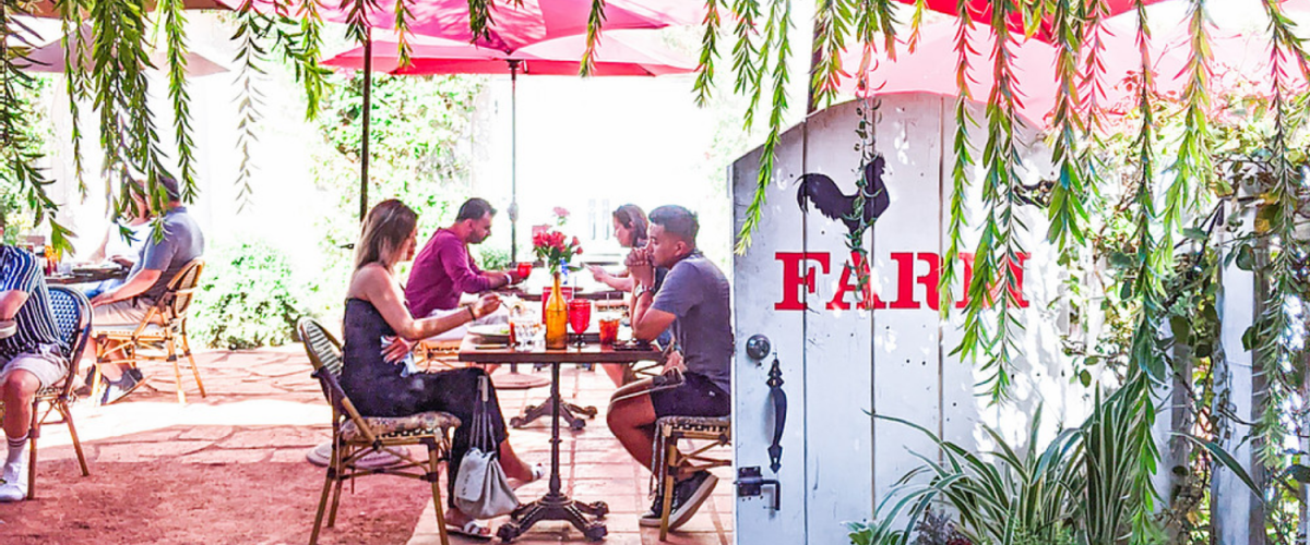 Guests eat on the patio at FARM in Palm Springs
