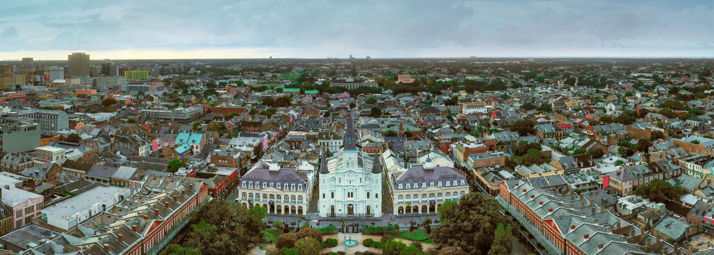 St. Louis Cathedral in Jackson Square, Aerial cityscape