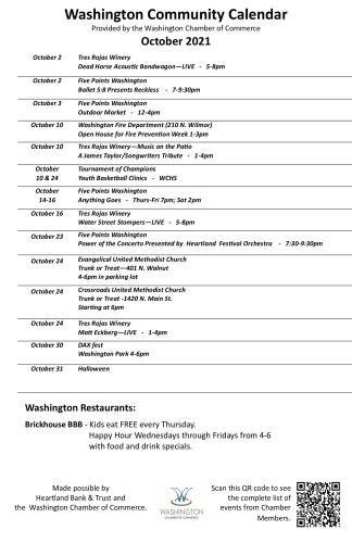 Washington Community Calendar - Oct 2021