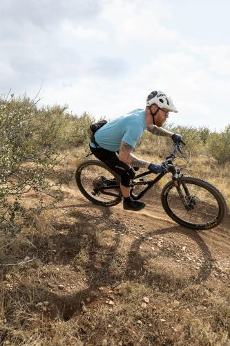 Hitting the Curve Mountain Biking Shadow