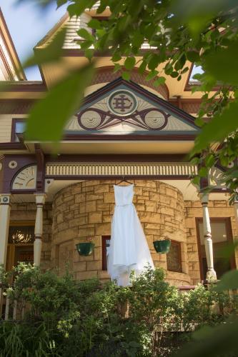 Wedding dress hanging at Historic Ivinson Mansion venue