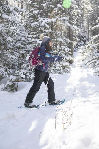 Woman showshoeing in Wyoming's snowy range with dappled light