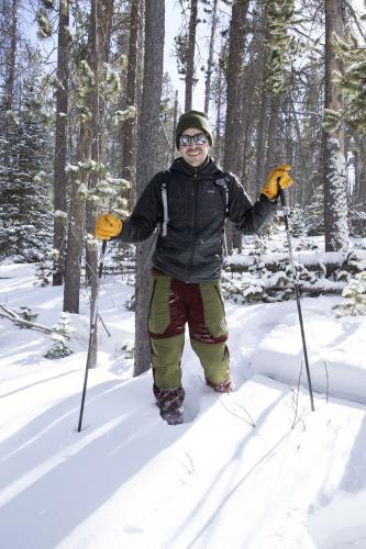 Snowshoeing in deep snowpack