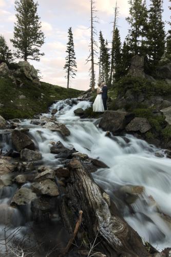 Wedding photo below Lake Marie Falls