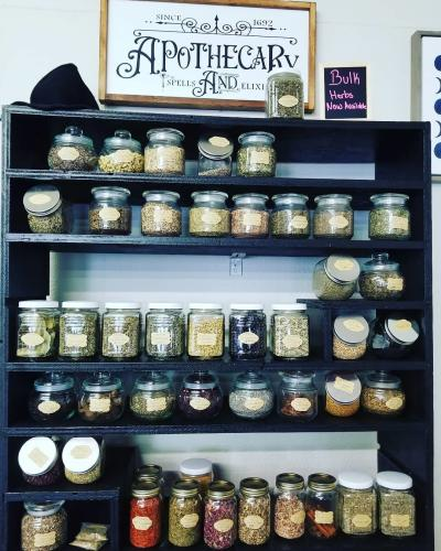A display of herbs and seeds at the Raven's Roost Boutique.