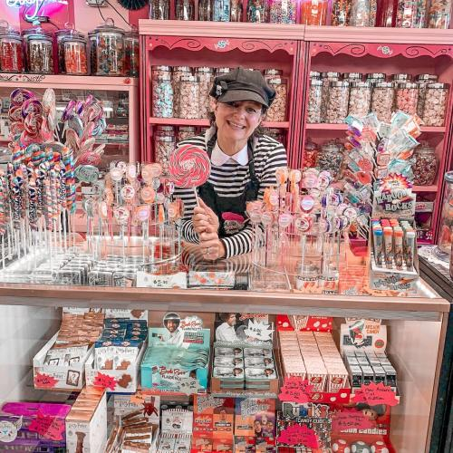 Woman at front counter of New Albany Sugar Shoppe