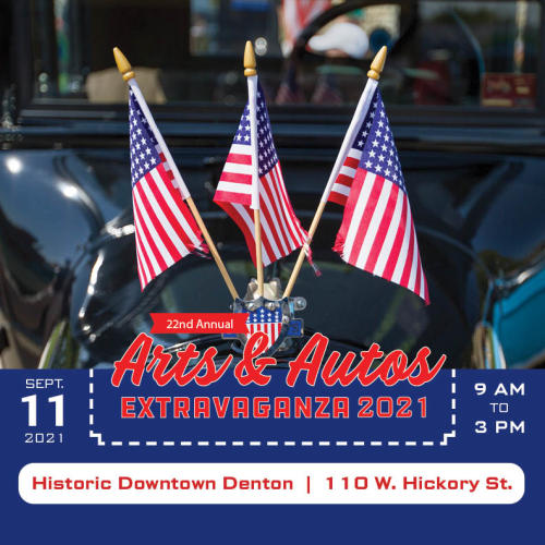 Flyer for Arts & Autos Extravaganza on September 11, 2021
