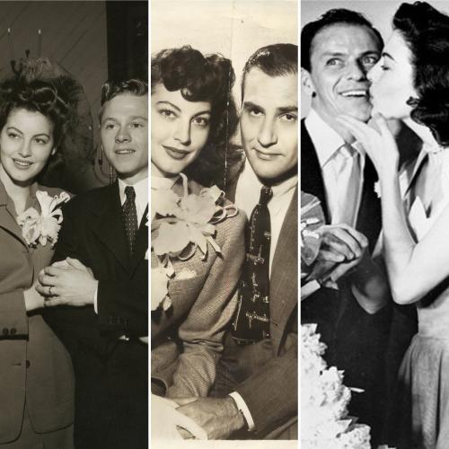 Collage of three wedding photos of Ava Gardner, one each with Mickey Rooney, Artie Shaw, and Frank Sinatra.