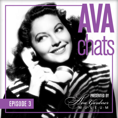 Ava chat promo graphic featuring image of Ava Gardner holding telephone.