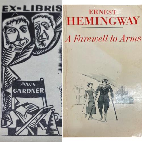 Ava Gardner's copy of A Farewell to Arms. Graphic shows Ava Gardner's Ex-Libris bookplate which was inside the front cover of the book, which is shown on the right. A Farewell to Arms by Ernest Hemingway