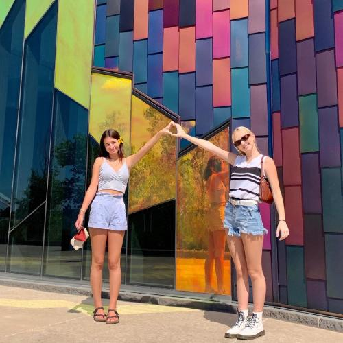 Two girls at Prairie Fire Museum in Overland Park Kansas