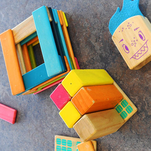 Building blocks and colorful toys for kids.