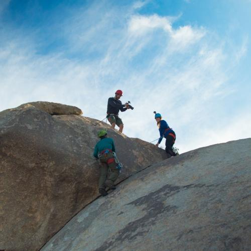 Rock climbing in Joshua Tree