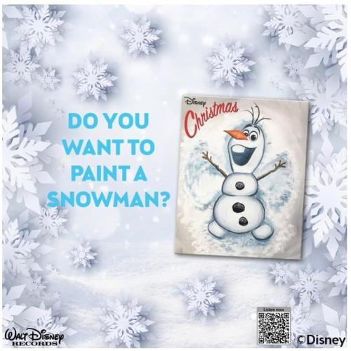A painting of olaf from Frozen