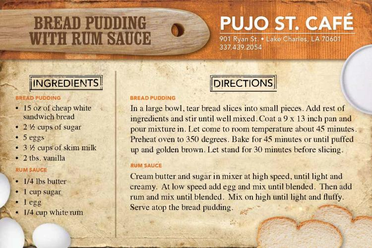 Bread Pudding Recipe from Pujo St. Cafe