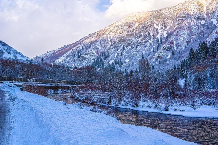 Provo River Up the Canyon in Winter