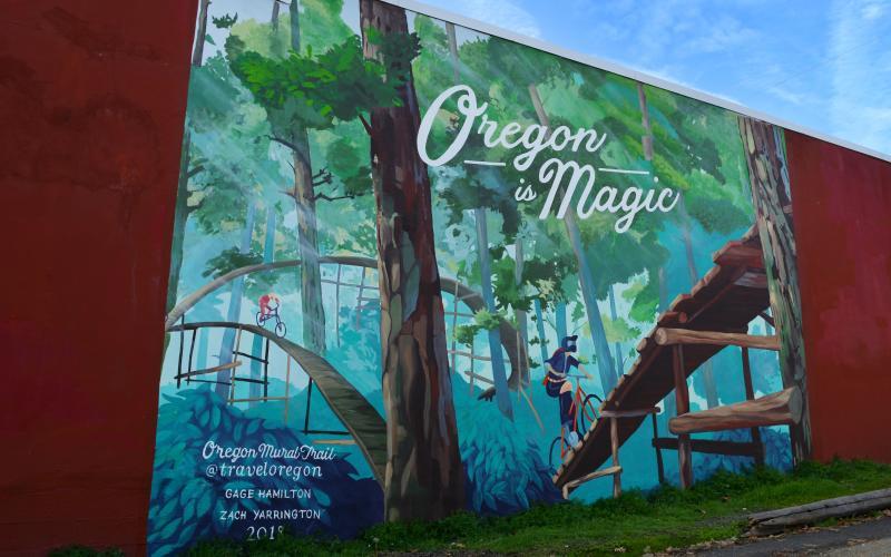Oregon is Magic mural in Oakridge by Colin Morton