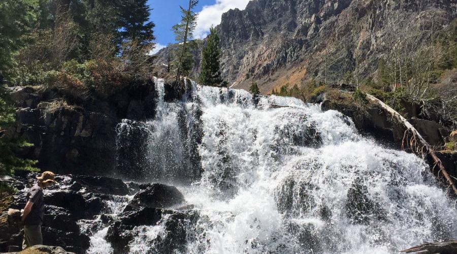 Lundy Canyon trail waterfall