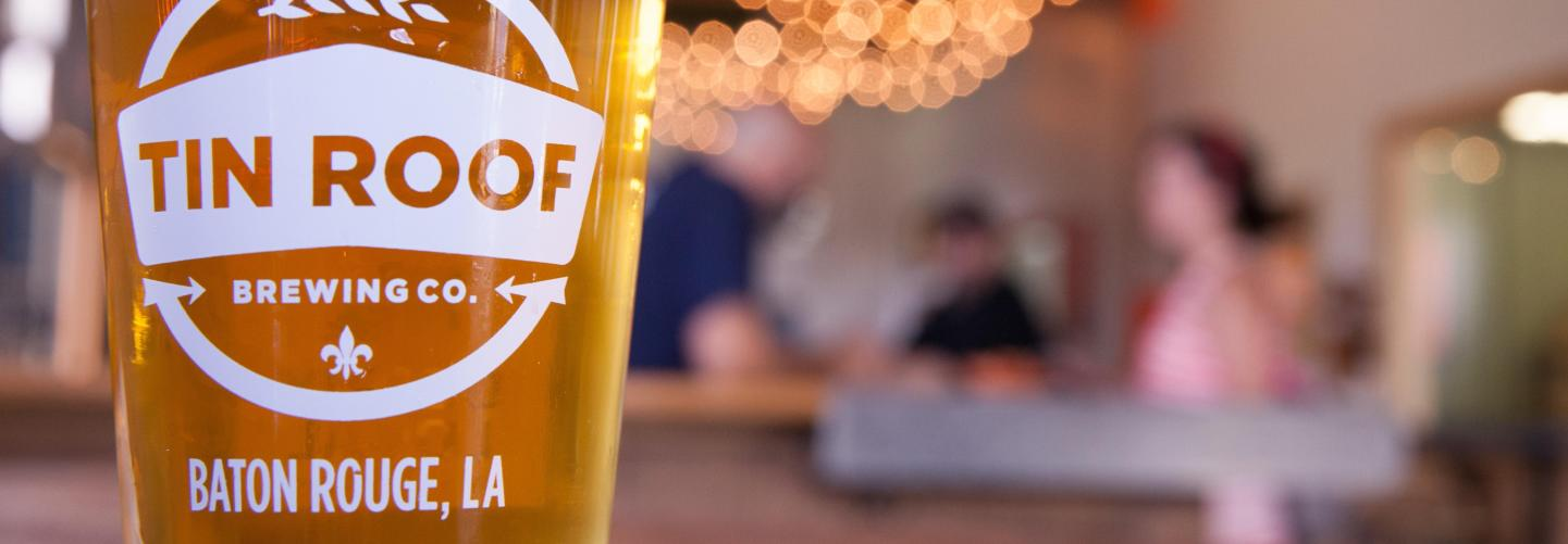 Close-up of fresh pint at Tin Roof Brewery