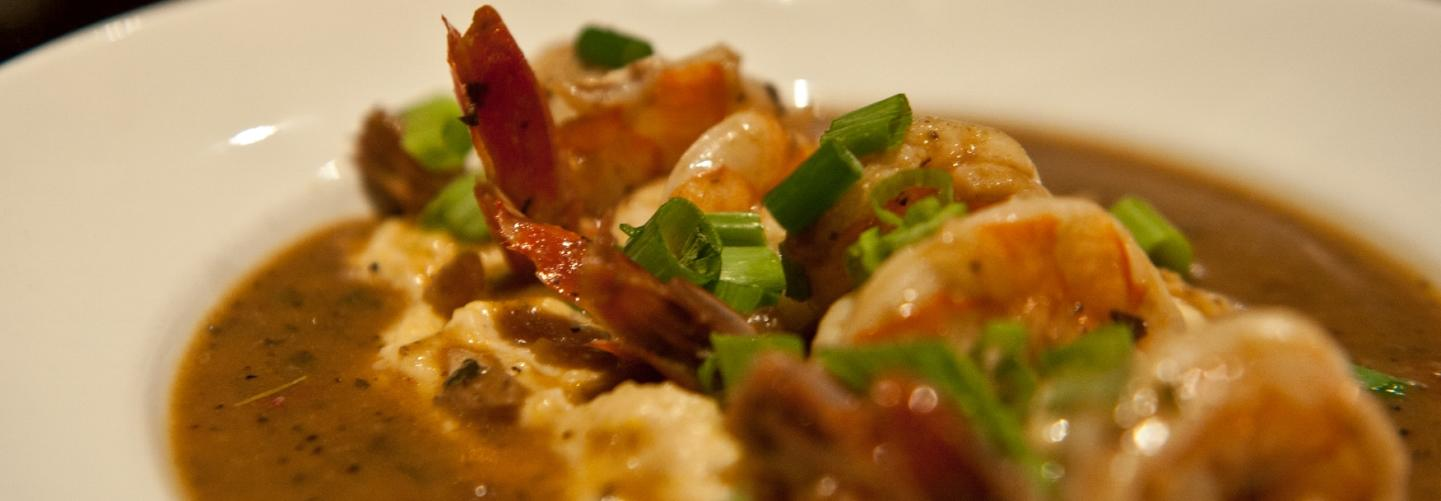 Close-up of delicious shrimp and grits dish