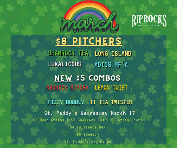 St. Patrick's Day drink specials at Riprock's Bar and Grill