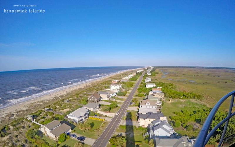 View from the top of the Oak Island Lighthouse in Caswell Beach, North Carolina.