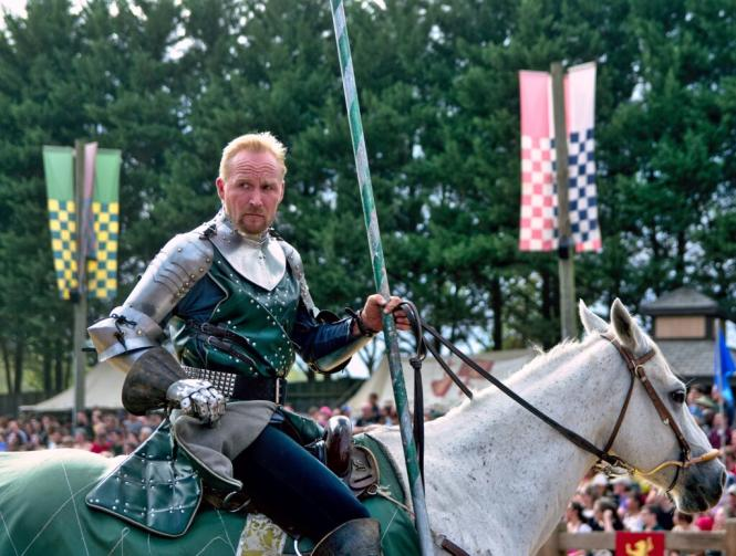A Knight on horse back at the Renaissance Festival