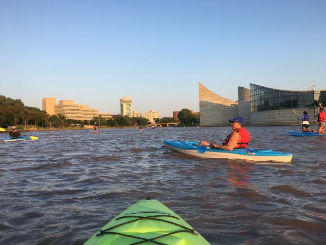 Floating the Arkansas River on a Kayak Near Exploration Place