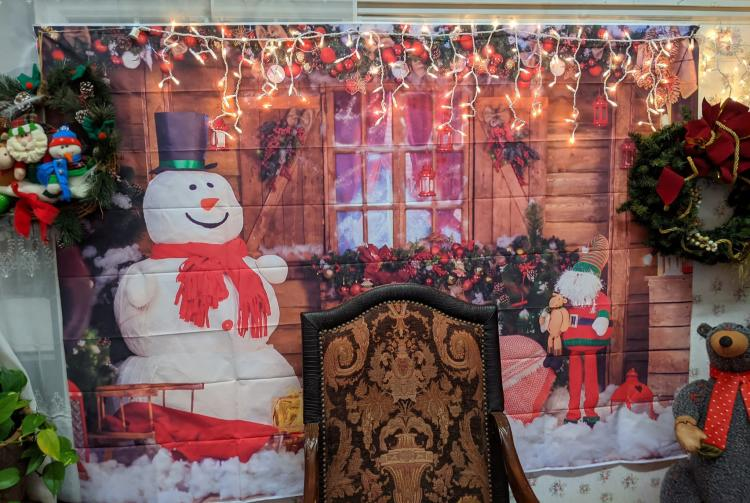 Chair in front of seasonal back-drop