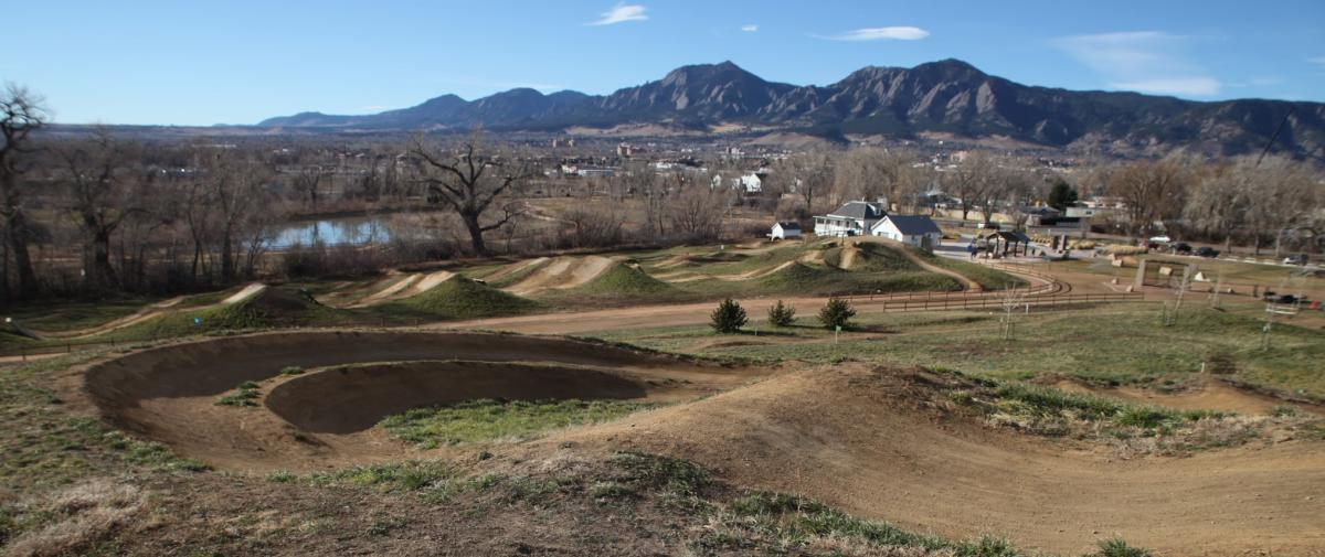 Dirt bike trails at the Valmont Bike Park