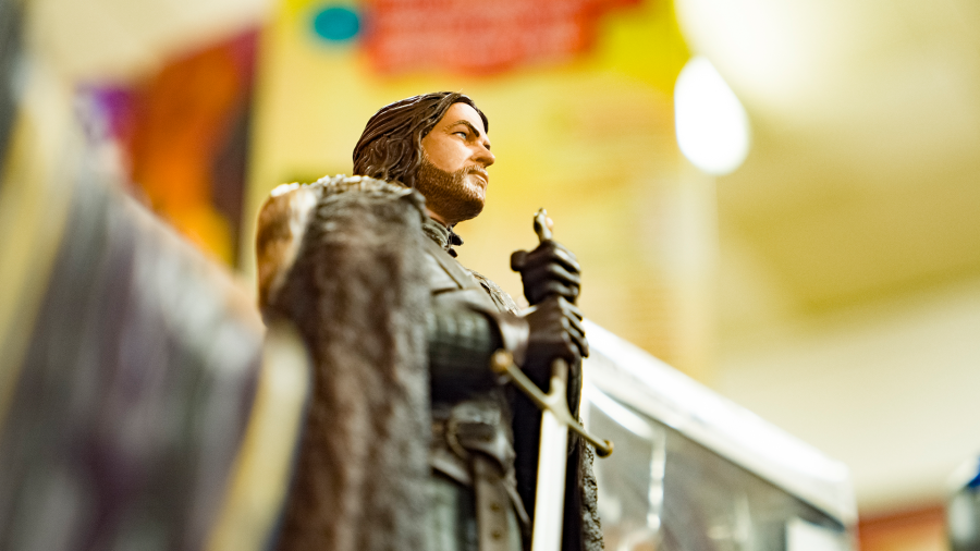 An action figure of Ned Stark of Game of Thrones sits on a shelf at Recycled Books
