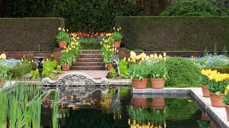 A water feature at Filoli Historic House & Garden is surrounded by bright springtime flowers.