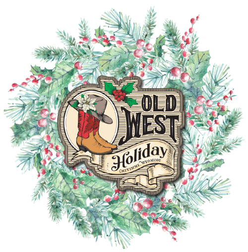 Pine wreath with red berries overlaid with the Old West Holiday logo.