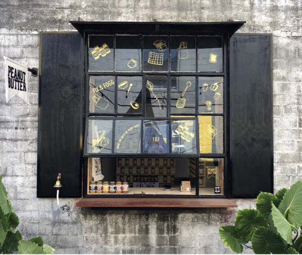 Fix and Fogg serves customers their delicious nut butter products through this shop window in Montrose.