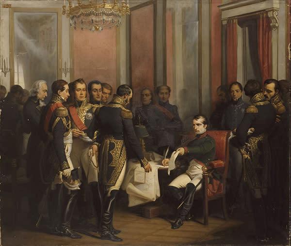 Napoléon signs his abdication at Fontainebleau 11 April 1814