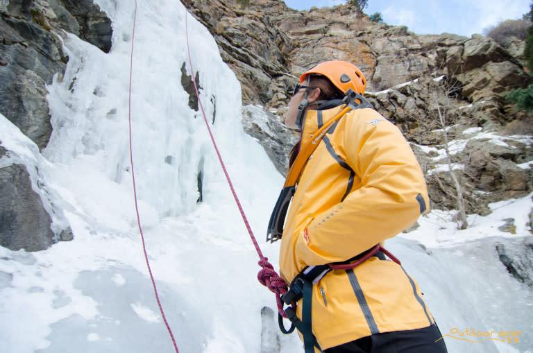 American Alpine Club staffer begins a water ice climb.