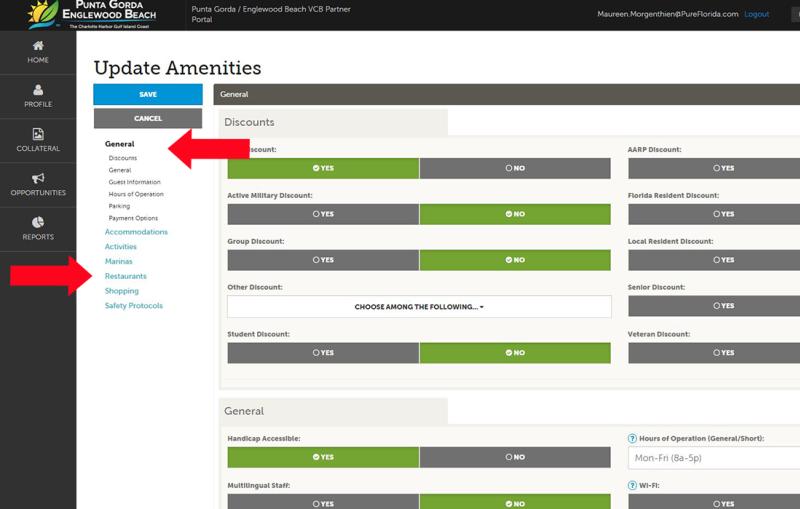 Managing Amenities 2 - Partner Portal view of categories