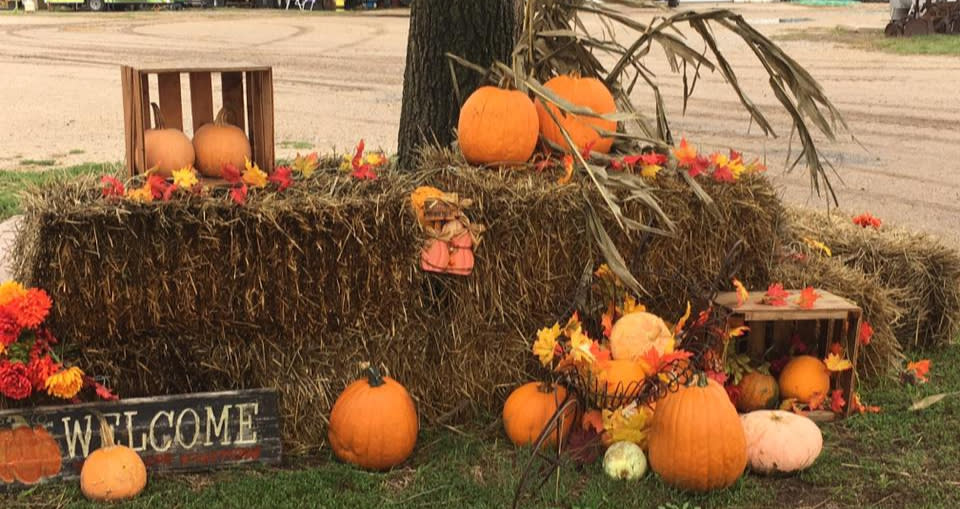 Fall welcome display at the entrance of Klausmeyer Pumpkin Patch in Wichita, KS