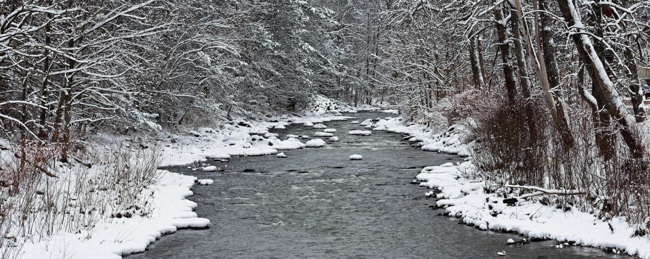 View up Stoney Clove Creek in the Hamlet of Phoenicia in winter, Ulster County, Catskills