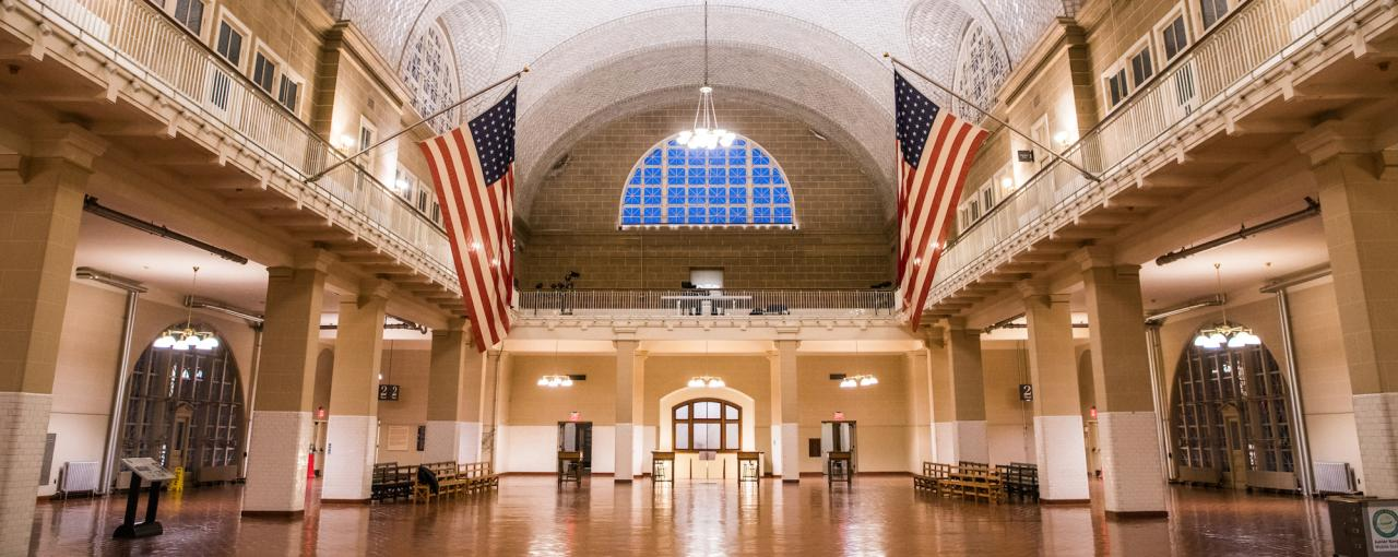 A photo of the interior of Ellis Island