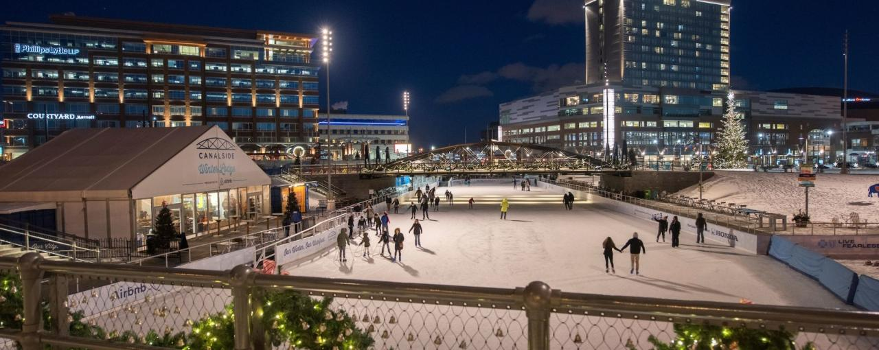 Skaters on the Ice at Canalside in Buffalo