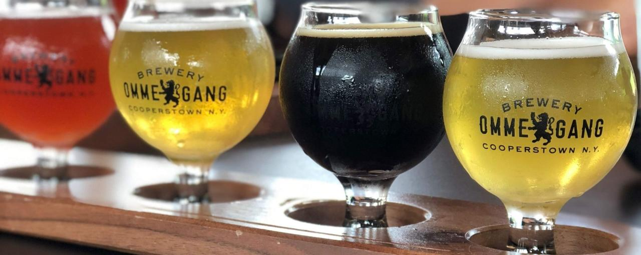 Ommegang Brewery flight of four different beers