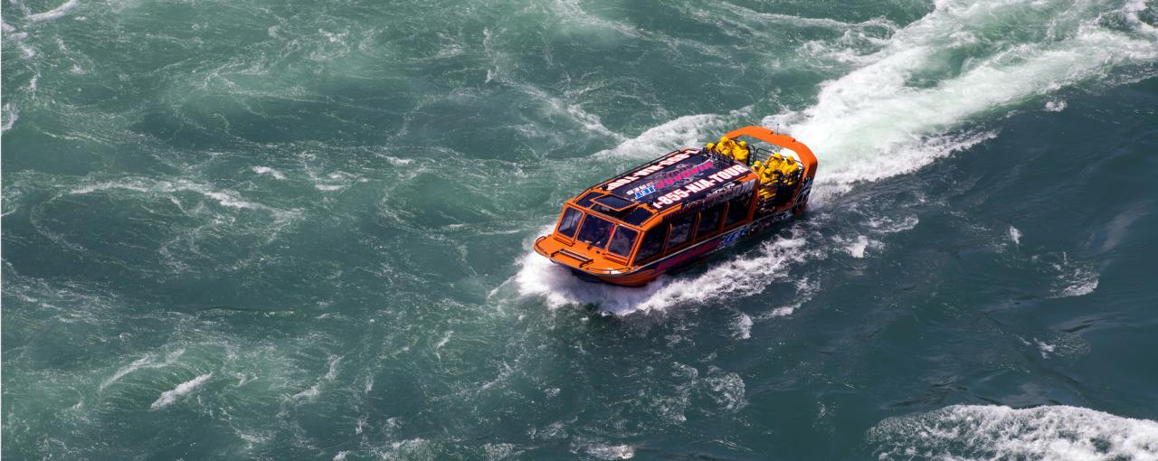 A picture of the Niagara Jet Adventures Boat on the water